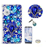 STENES Galaxy S9 Plus Case - 3D Handmade Luxury Gemstone Rose Flowers Wallet Card Slots Fold Leather Cover Blue Cute Night Owl Dust Plug,Screen Protector for Samsung Galaxy S9 Plus - Blue