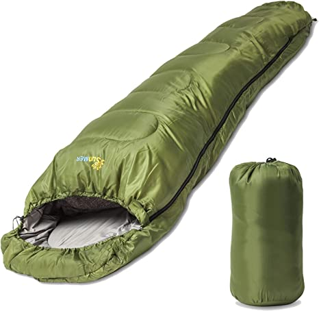 Professional 400GSM Mummy Sleeping Bag 3-4 Season for Camping Hiking Outdoors UK
