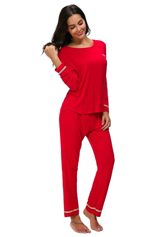 M-anxiu Sleepwear Womens Long Sleeve Cotton Pajama Set Soild Loungewear  S-XXL at Amazon Women s Clothing store  7093bdc4f
