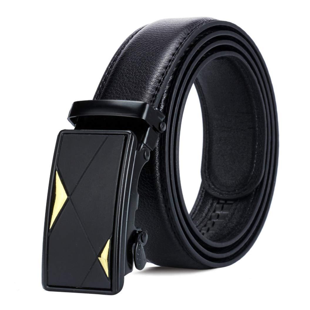 XWBO Men/'s Business Adjustable Ratchet Belt Black Leather Belts Automatic Buckle