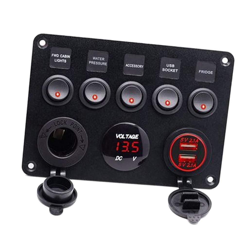 Homyl 5 Gang Rocker Switch Panel for RV Marine Truck Boat Panels IP65 Digital Voltmeter Display Double USB Port 12V Socket Red LED Breaker Switches