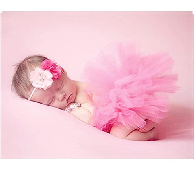 263ccbadc Amazon.com: Vemonllas Fashion Newborn Girl Baby Outfits Photography Props  Headdress Tutu Skirts Pink: Clothing