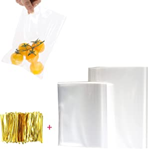 Clear Cookie Bags, 400pcs Cellophane Bags with 250Pcs 4×6''& 150Pcs 5×7'' Cellophane Gift Bags, 400Pcs Twist Ties for Bakery, Candle, Cookie, Jewelry, Snack, Dessert
