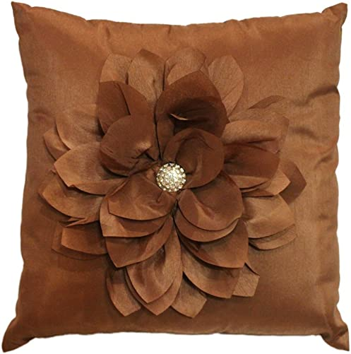 Fennco Styles Laurent Jeweled Floral Decorative Throw Pillow. 16 Inch Square. Mocha