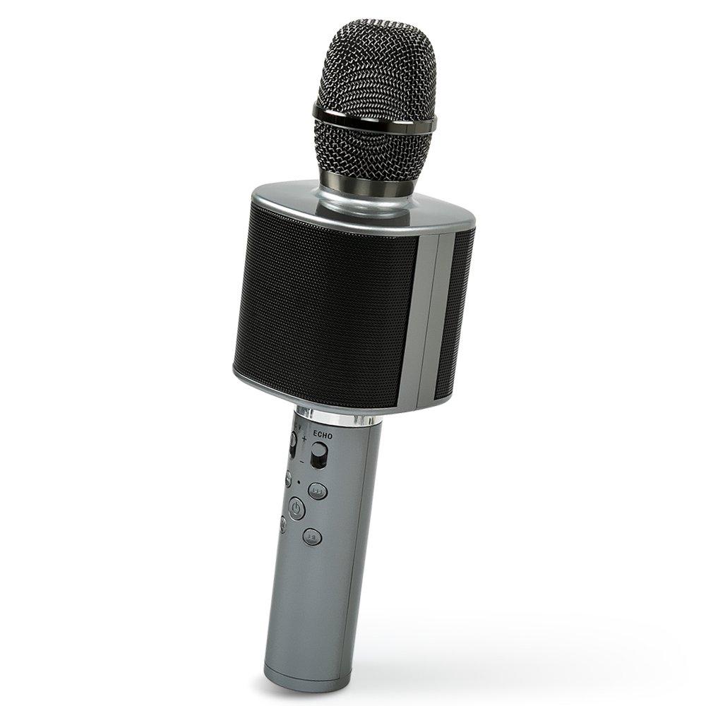 Nubeter Mikrofon Karaoke, 2018 neuer beweglicher drahtloser Bluetooth Sprecher, eingebaute Batterie und Doppelsprecher für Partei, KTV, Haus, Lautsprecher, für PC/Telefon, Android/IOS (dunkelgrau) für PC/Telefon