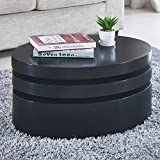 NewRetailGlobal Round Black Coffee Table Rotating Contemporary 3 Layers Living Room Furniture