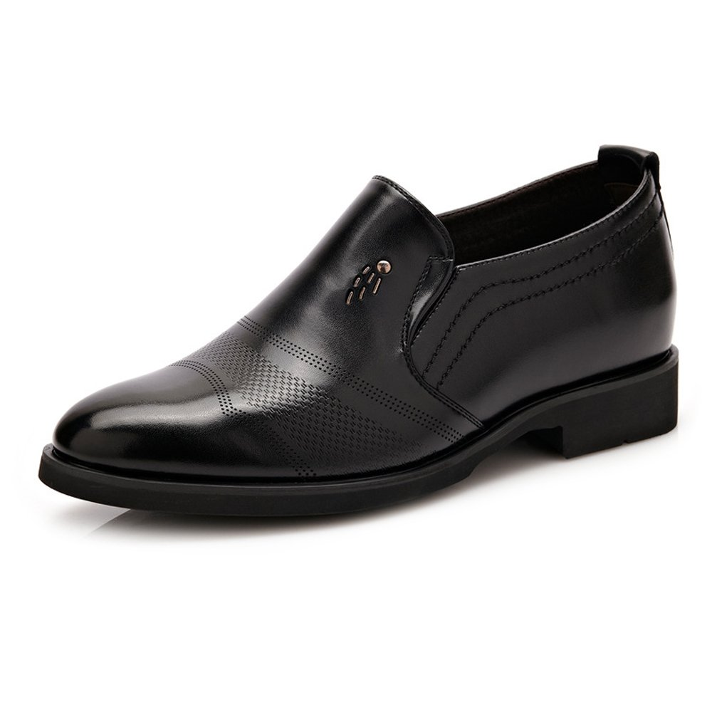 Black JIALUN-shoes for Gentlemen Classic Formal Men's Leather shoes Slip-on Height Increasing 6cm Breathable Business Oxfords