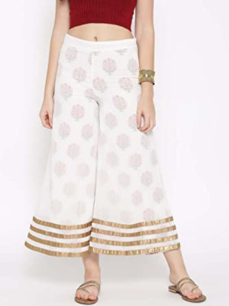 268ea38675a78 Amazon.com: W Women Off-White Printed Ankle-Length Palazzo Trousers ...