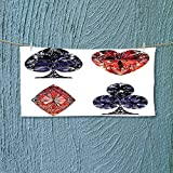 Fitness Towel Collection Diamond Shaped Cards Poker Face Luxury Fortune Symbols Sapphire Decorative Decor Dark No Fading Multipurpose L27.5 x W11.8 inch