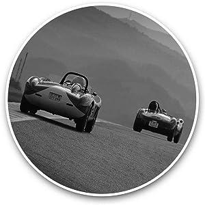 Vinyl Stickers (Set of 2) 15cm Black & White - Vintage Maserati & Ferrari Mugello Laptop Luggage Tablet #35519