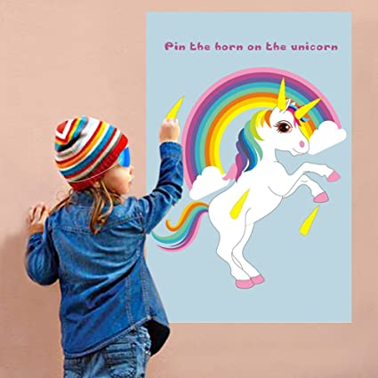 OurWarm Pin The Horn On Unicorn Party Game For Kids Birthday Decorations Rainbow