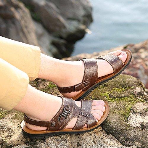 Sommer Echtleder Sandalen Männer Strand Schuh Männer Sandalen Männer Schuh Atmungsaktiv Freizeit Schuh Männer Trend ,braun ,US=9.5,UK=9,EU=43 1/3,CN=45