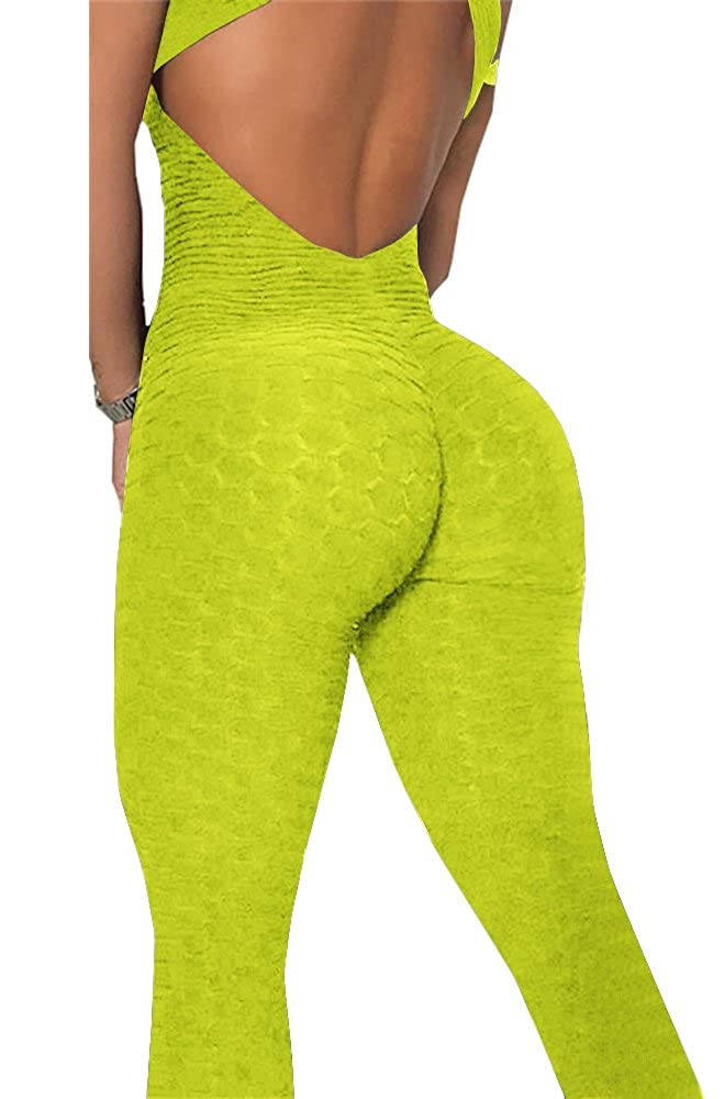31910a21f27b Amazon.com  Ivay Sexy Backless Slimming Textured Activewear Yoga Skinny  Jumpsuits  Clothing
