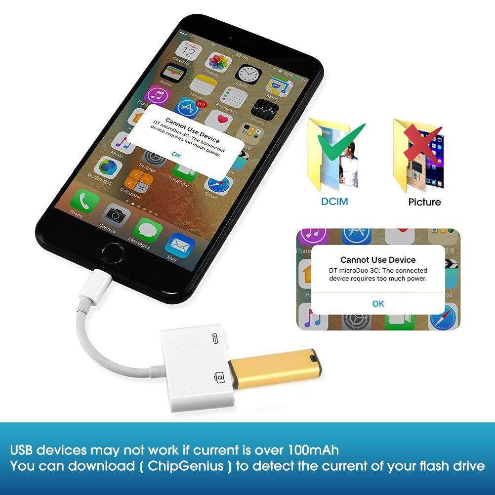 Compatible con iOS 10.3 y 11 USB 3.0 Hembra OTG Cable Adaptador con Interfaz de alimentaci/ón USB no Requiere aplicaci/ón Sunky Adaptador de c/ámara USB Blanco