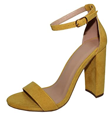 4bcad75fbe3 Cambridge Select Women s Open Toe Single Band Buckled Ankle Strap Chunky Block  Heel Sandal (6