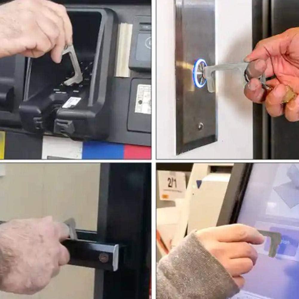 Non-Contact Handheld Door Closer Brass Hygiene EDC Keychain Tool Offering Non-Contact Door Opener Hook /& Stylus Utlity Tool