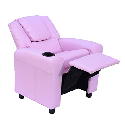 Peachy Homcom Kids Children Recliner Lounger Armchair Games Chair Sofa Seat Pu Leather Look W Cup Holder Pink Andrewgaddart Wooden Chair Designs For Living Room Andrewgaddartcom