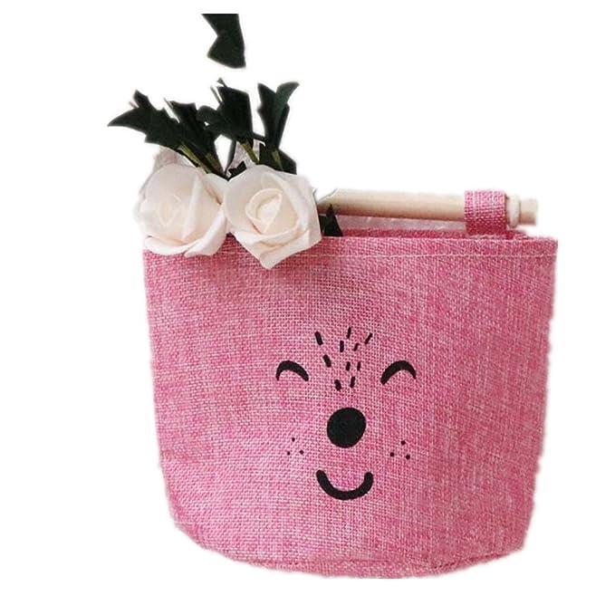 Daliuing H/ängender Organizer,H/ängeaufbewahrung mit 3 Taschen,Cartoon Tiermuster H/ängeorganizer,Spielzeug Container f/ür Kinderzimmer und Wohnzimmer,mit 3 Taschen-Rosa