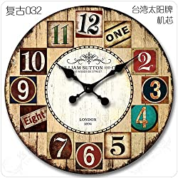Quietness @ Modern Colorful Creative Silent Non-ticking Wall Clock Continental idyllic /12 inch/ retro 032 large size no seconds