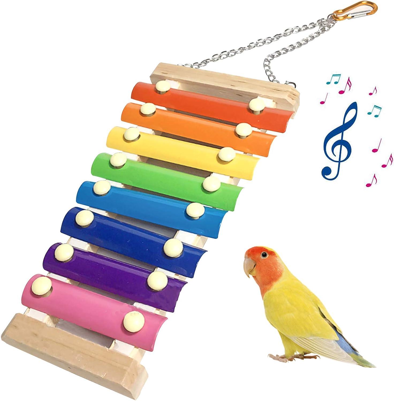 FOXNSK Juguetes de Loro Pájaro, Suspensible de Juguete Gallina Musical Xilófono 8 Llaves de Metal para Gallinas Mascota Pollo Pájaro Loro Pájaros Medianos y Grandes