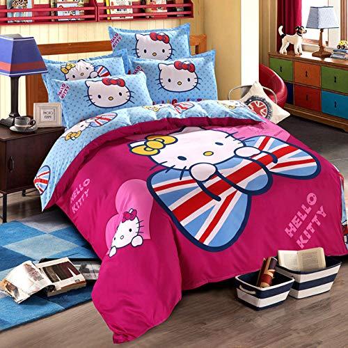 Olwen Shop Bedding Sets - Hello Kitty Bedding Set Children Bed Linen Cartoon Duvet Cover Set with Bed Sheet Pillow Case Bedclothes Twin Full Queen Size
