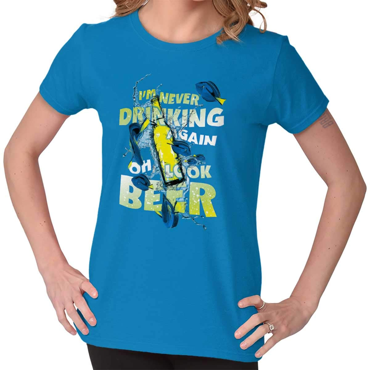 Never Drink Again Beer Brew Fish Movie T Shirt 7489