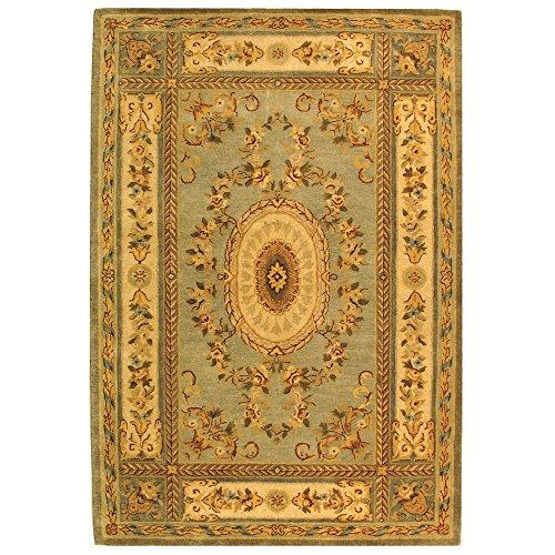 Safavieh Bergama Collection BRG174A Handmade Light Blue and Ivory Premium Wool Area Rug (5' x 8')