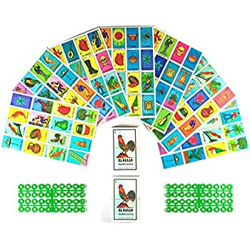 Loteria Mexicana Board Game Kit - Loteria Mexicana Bingo Game for 20 Players - Includes 2 Deck of Cards and Boards - With Free Markers - For the Entire ...