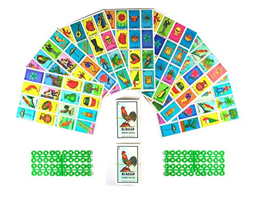 Loteria Mexicana Board Game Kit - Loteria Mexicana Bingo Game for 20 Players - Includes 2 Deck of Cards and Boards - With Free Markers - For the Entire Family - Great for Learning Spanish. (Loteria Mexican Bingo)