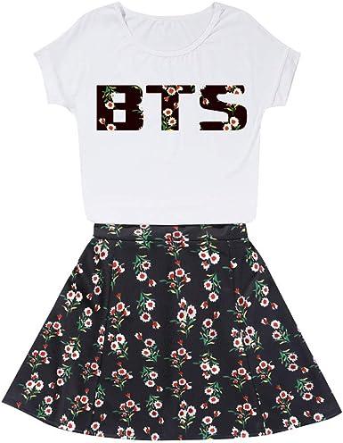 BienBien Mujer T-Shirt y Falda Cortos con Impresión de BTS ...