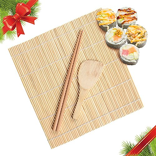 Japan China China Platter (Christmas Gift Eco Sushi Set   Five Star Restaurant DIY Sushi Maker Kit   Eco Friendly Asian Bamboo 1x Rolling Mat (9.1 X 9.4 inches) 1x Rice Paddle and 1 Pair Chopsticks   Light Brown   315.2)