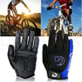Kyпить GEARONIC TM New Fashion Cycling Bike Bicycle Motorcycle Shockproof Foam Padded Outdoor Sports Half Finger Short Riding Biking Glove Working Gloves (Blue Full Finger, Full M (7