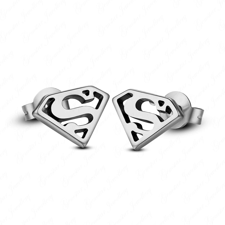 Gemstar Jewellery 14K Gold Plated 925 Sterling Silver Justice League Superman Stud Earrings Push Back