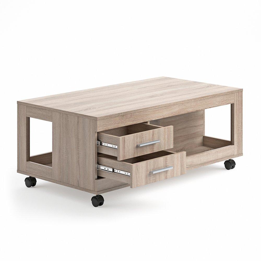VICCO Couchtisch Bruno 65x120 cm mit Schubladen Wohnzimmertisch Beistelltisch Kaffetisch Holztisch +++ INKLUSIVE 4 SCHUBLADEN UND 4 ROLLEN +++ (sonoma eiche)