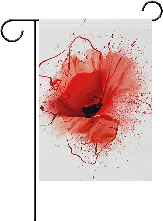 LIANCHENYI Red Poppy Closeup con pintura en spray doble cara bandera de la familia de poliéster