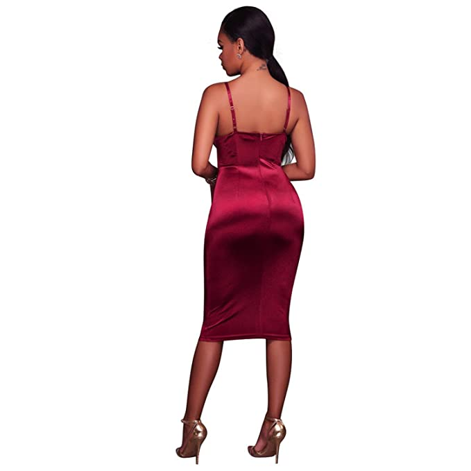 Ivan Johns Dresses Dresses New Arrival New Sexy Spaghetti Strap Corset Boned Dress Sleeveless Backless Nightclub Bodycon Vestidos Red L at Amazon Womens ...