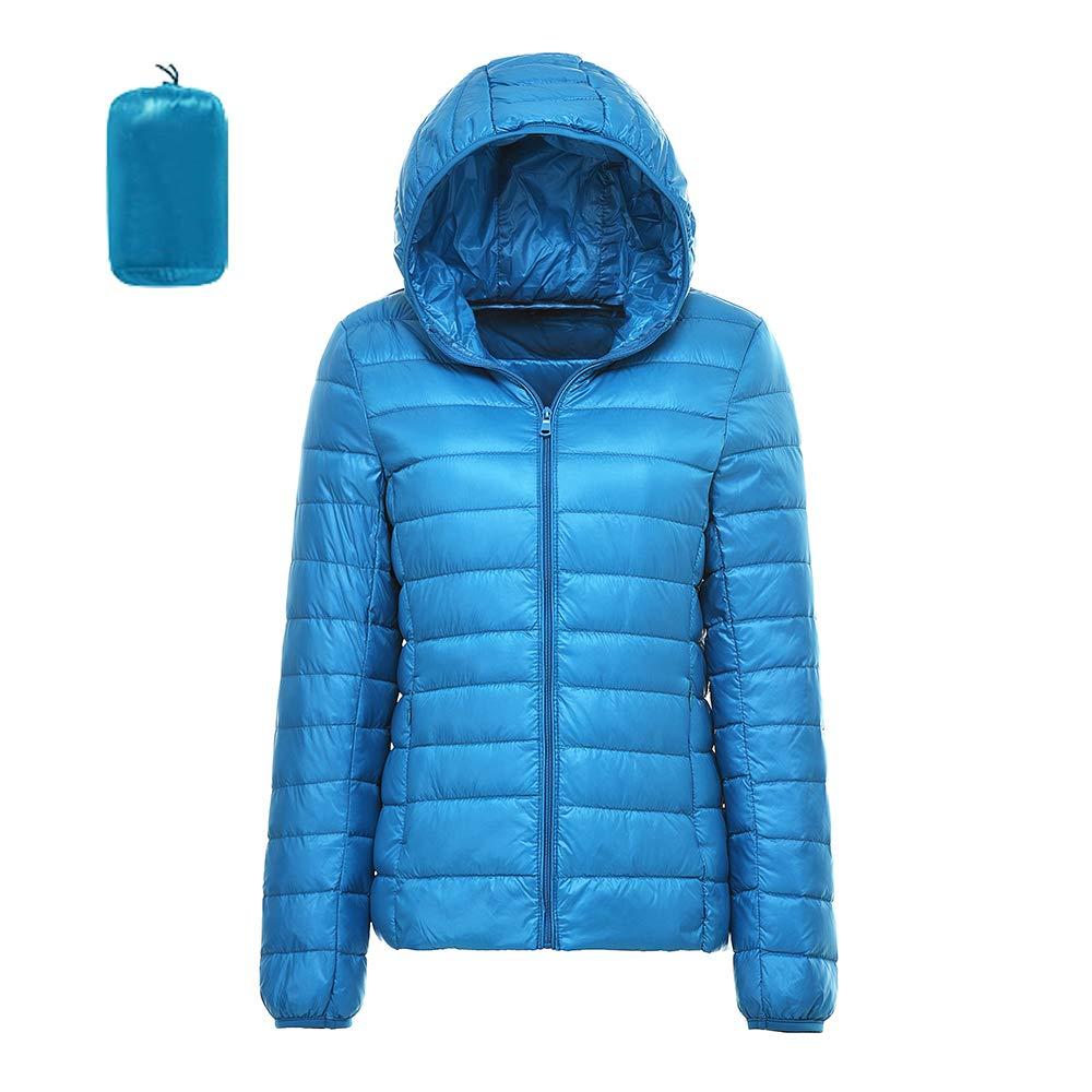 Vertvie Damen Leichte Daunenjacke mit Kapuzen Steppjacke Leichter Daunenmantel Winterjacke Dünne Packbar Stehkragen Übergangsjacke Warme Jacke