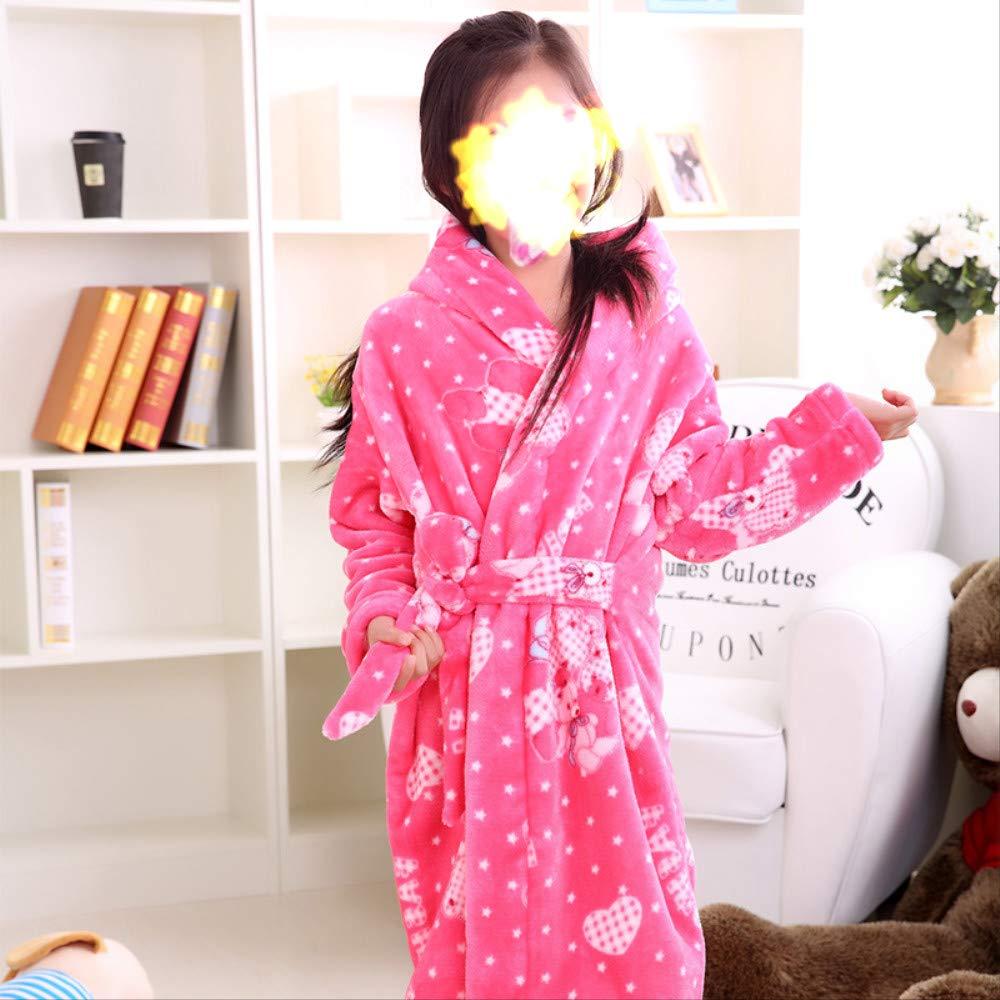 LDRENF Automne Hiver Flannesex Robe De Toilette pour Enfants Coral Velvet /ÉPais Pyjamas Gar/çOns Et Filles Baby Baby Bathrobe XS K