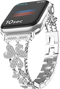 W7ETBEN Bling Metal Bands Compatible with Apple Watch Band 38mm 40mm, Women Luxury Diamond Bling Crystal Stainless Replacement Strap for iWatch Band Series 6 5 4 3 2 1 (Silver, 40/38mm)