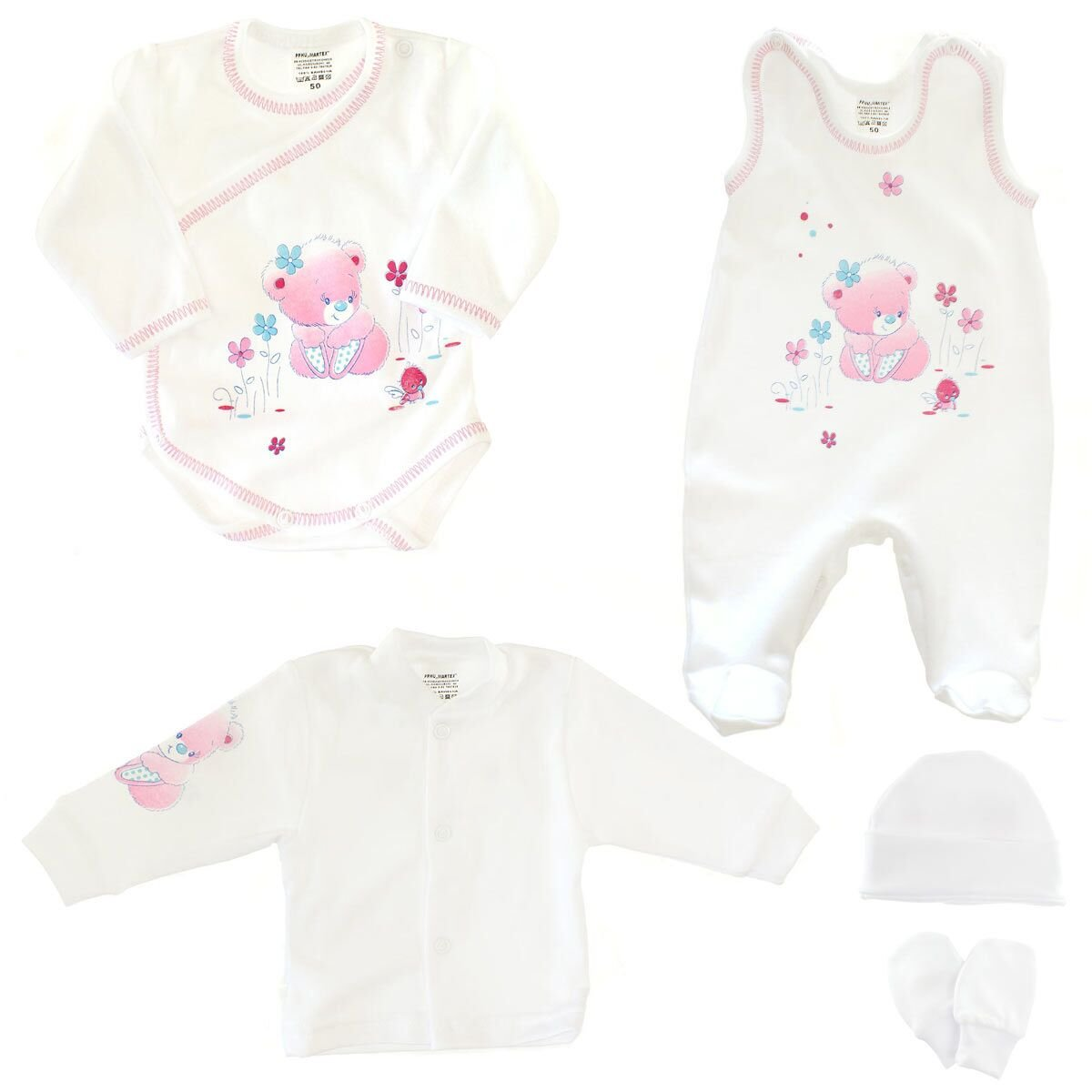Five-Part Set Baby Girls Infant Toddlers Hat Gloves Shirt Pants Size 56 0-3 Months