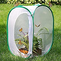 Fullfun Collapsible Insect Butterfly Habitat Cage Terrarium Pop up Open Cloth Foldable Housing Enclosure Portable Strip Cage (White)