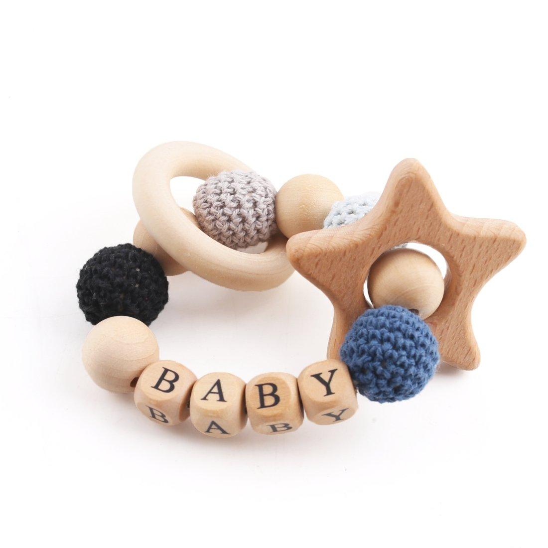 Mamimami Home Baby Holz Beißring Blume Geformt Ahorn Holz Organische Ringe Häkeln Perlen DIY Schmuck Handgemachte Armband Kinderkrankheiten Spielzeug Baby-Dusche-Geschenk