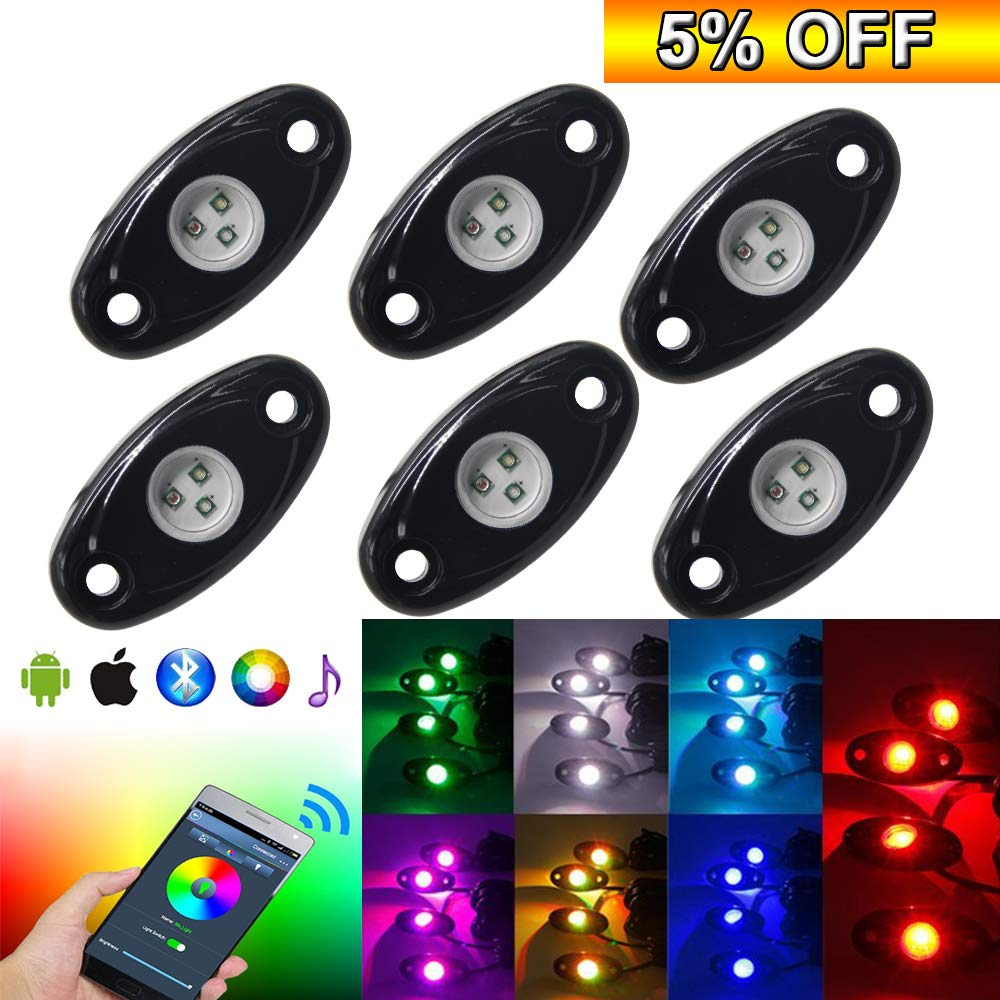 6pods RGB Led Rock Lights Kit With Bluetooth 14 DIY Color 15 Turning Modes Timing Music Mode Flashing Led Interior Light Led Neon Lights Kits For Off Road Jeep Truck SUV UTV ATV Motorcycle (6 pods) Opplight