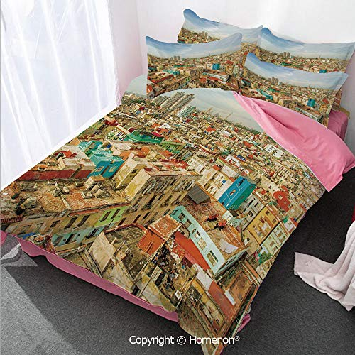 (Homenon Travel Decor Girl's Room Cover Set Full Size,Panorama of Havana City Vedado District in Cuba Old Colorful,Decorative 3 Piece Bedding Set with 2 Pillow Shams Multicolor)