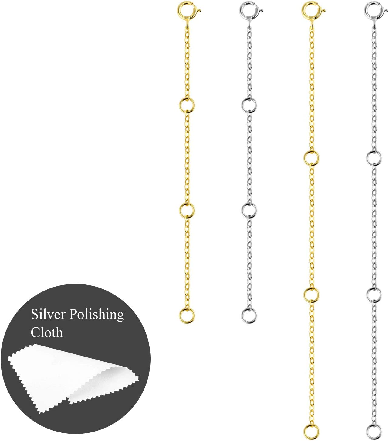 Silver ALEXCRAFT 3pcs Sterling Silver Chain Extender Necklace for Jewellery Making 2,3,4inch