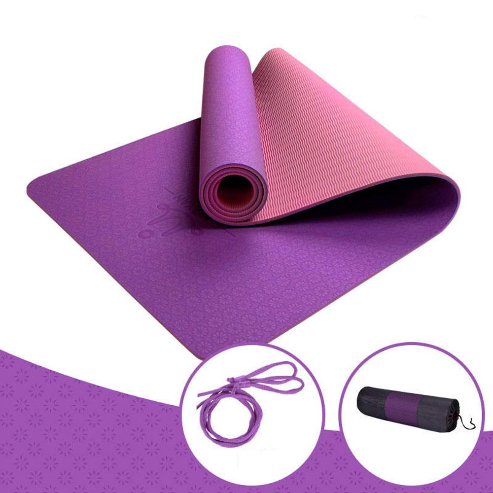 LS-Exercise Fitness Yoga Mat - Male and Female Beginners Fitness Yoga Multi-Function Three-Piece Set of Tasteless Non-Slip Yoga Mat [8 Color Optional]& (Color : Lancome Purple, Size : 6mm)