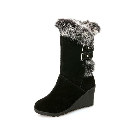 QIN&X Donna calda libero fondo spesso neve stivali scarpe ,Beige,34