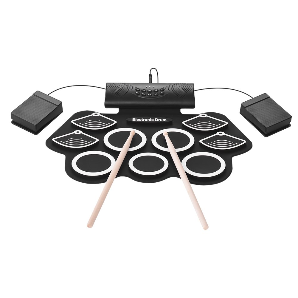 Walmeck Portable Electronic Drum Kit Hand Roll Drum Set 9 Silicon Pads Built-in Stereo Speaker 1000mA Lithium Battery with Drumsticks Foot Pedals 3.5mm Audio Cable
