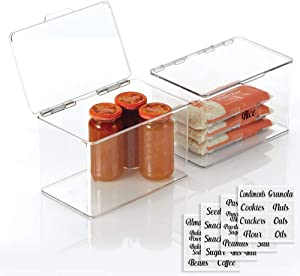 mDesign Stackable Plastic Kitchen Pantry Cabinet/Refrigerator Food Storage Container Box, Attached Lid - Organizer for Coffee, Tea, Packets, Snack Bars - Pack of 2, Includes 32 Labels - Clear