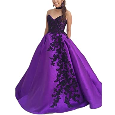 LeoGirl Womens Lace Appliques Long Prom Dresses with Pockets Strapless Formal Evening Gown (2,